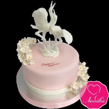 Торт свадебный с журавлями №2120