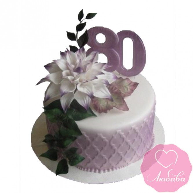 Торт на юбилей с цветами №2426
