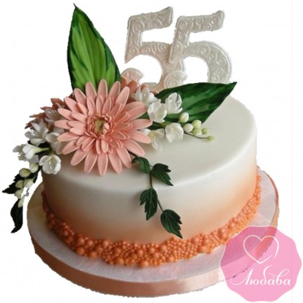 Торт на юбилей с цветами №2437