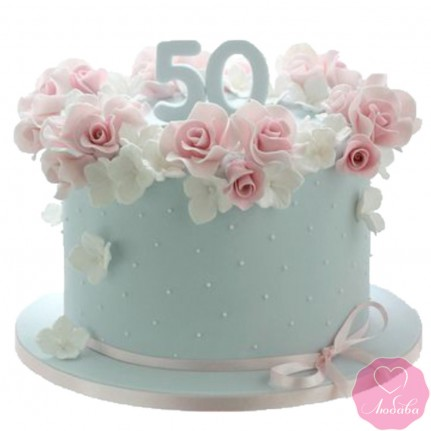 Торт на юбилей с розами №2715