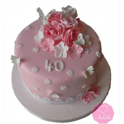 Торт на юбилей с цветами и бабочками №2716