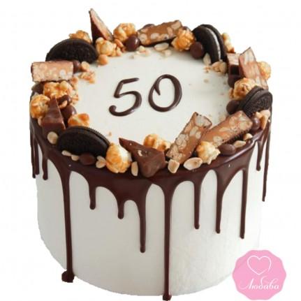 Торт на юбилей со сладостями №2719