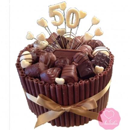 Торт на юбилей с конфетами №2720