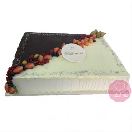 Торт на юбилей два шоколада с ягодами №2760