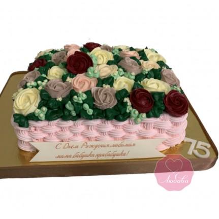 Торт корзина с розами №2841