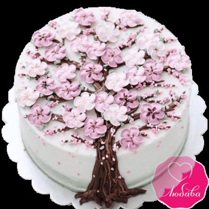 Торт на день рождения с сакурой №2137