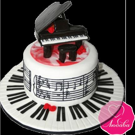 Торт на день рождения рояль №2158