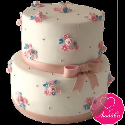 Торт на день рождения с полевыми цветами №2171