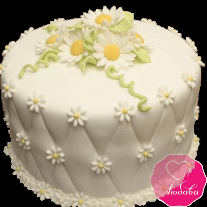 Торт на день рождения с ромашками №2184