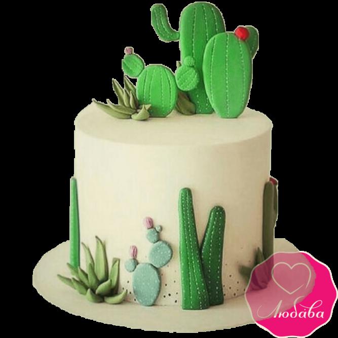 Торт на день рождения с кактусом №2289
