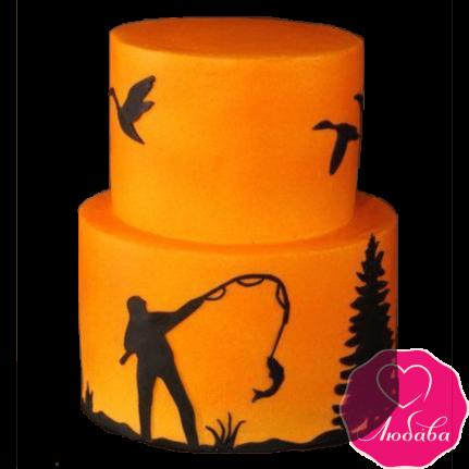 Торт на день рождения рыбалка и охота №2399