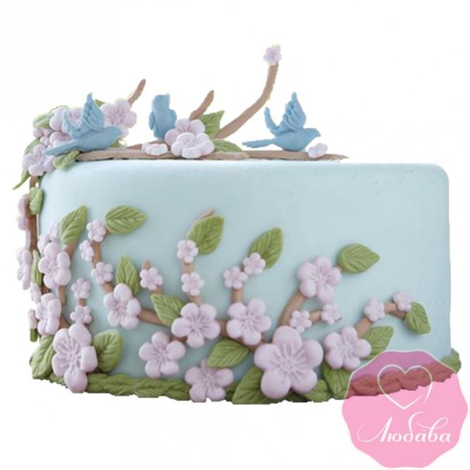 Торт на день рождения с птицами №2448