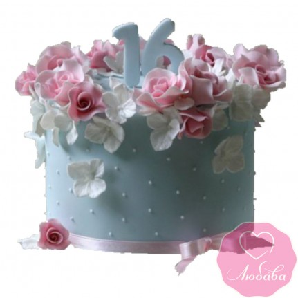 Торт на день рождения девочке с цветами №2491
