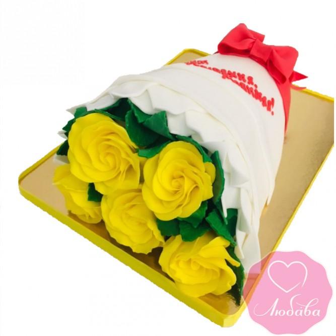 Торт на день рождения букет роз №2510
