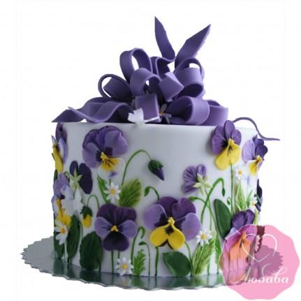 Торт на день рождения анютины глазки №2517