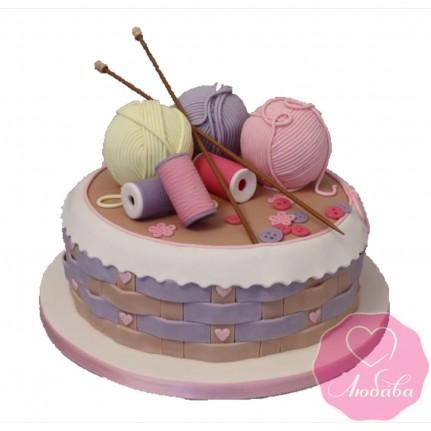 Торт на день рождения клубки и спицы №2519