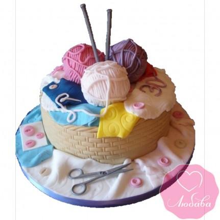 Торт на день рождения с клубками №2543