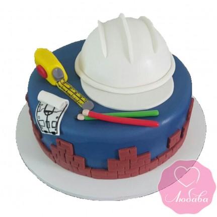 Торт на день рождения с каской №2544