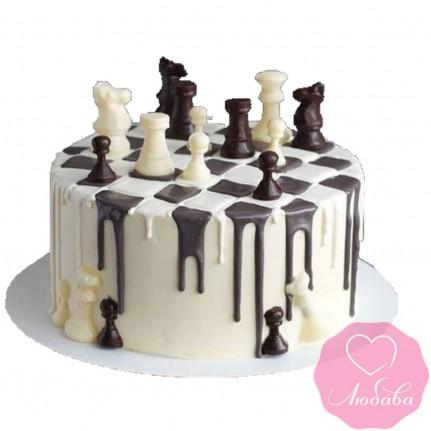 Торт на день рождения с шахматными фигурами №2549