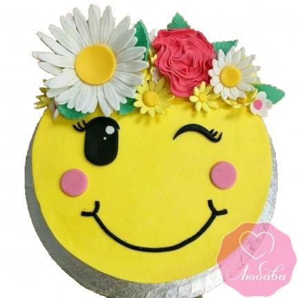 Торт на день рождения смайлик №2575