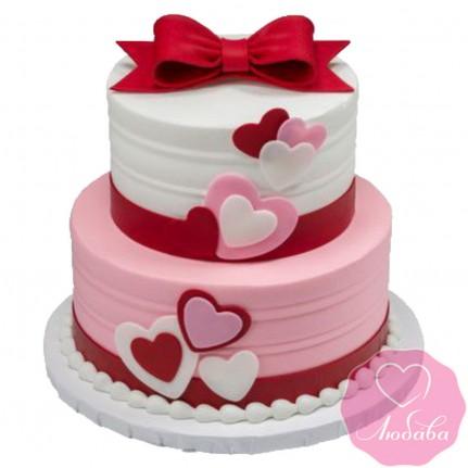 Торт на день рождения с сердечками №2576