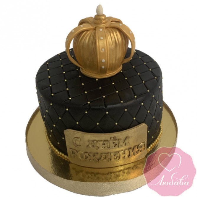 Торт на день рождения с короной №2584