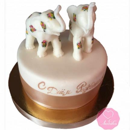 Торт на день рождения со слонами №2671