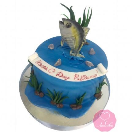 Торт на день рождения с рыбой №2679