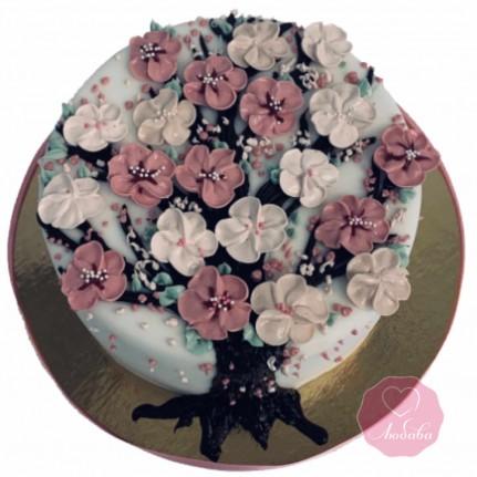 Торт на день рождения дерево сакуры №2686