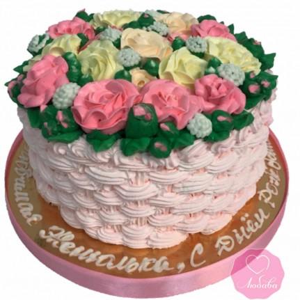 Торт на день рождения корзина с розами №2725