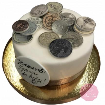 Торт на день рождения с монетами №2738