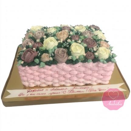 Торт на день рождения корзина роз №2739