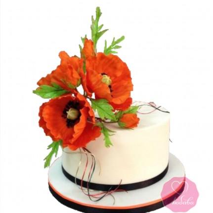 Торт на день рождения с маками №2757