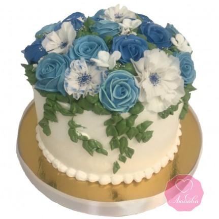 Торт на день рождения цветы №2763