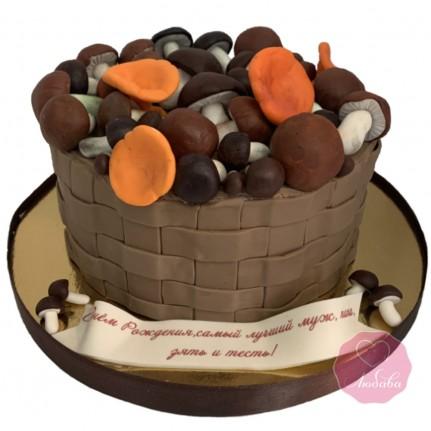Торт корзина с грибами №2792