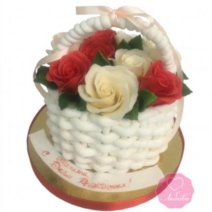 Торт корзина с цветами №2829