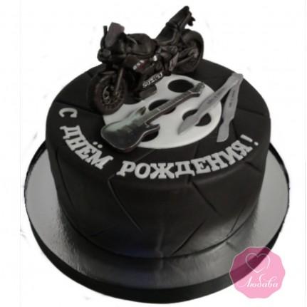 Торт на день рождения с мотоциклом №2834