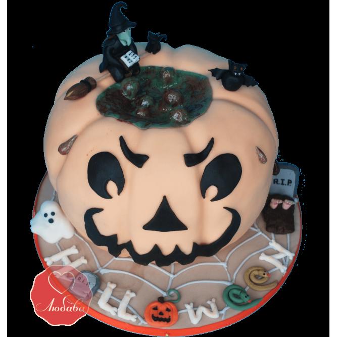 Торт тыква на хэллоуин №1175