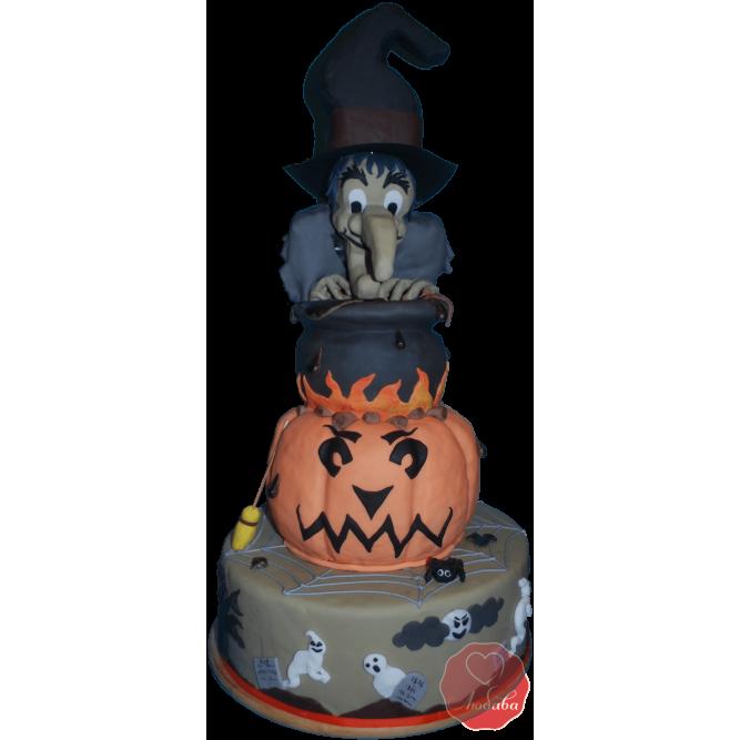 Торт тыква и ведьма на хэллоуин №1176