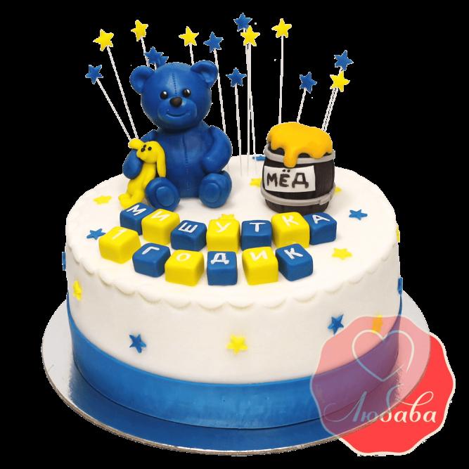 Торт для мальчика на 1 годик с мишкой