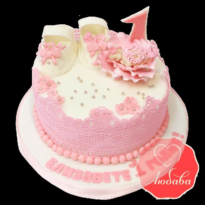 Торт на 1 годик розовый для девочки №1212