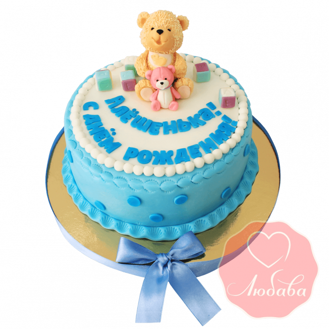 Торт на 1 годик с мишкой №1213