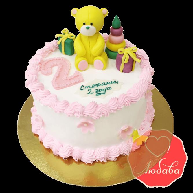 Торт на день рождения с желтым мишкой №1214