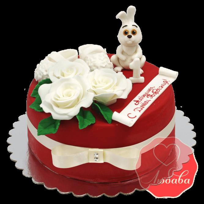 Торт на 1 годик красный с зайцем №1217