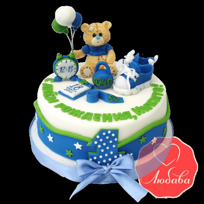 Торт на 1 годик с медведем №1218