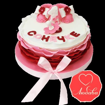 Торт на 1 годик с пинетками №1219