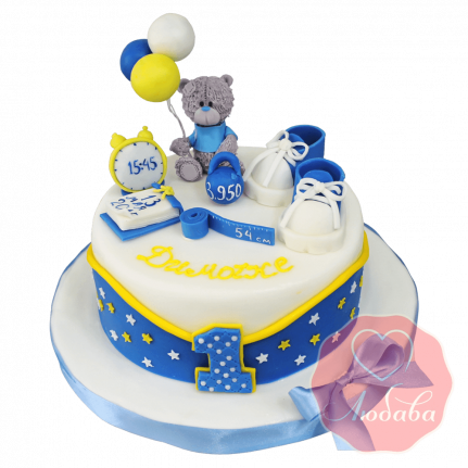 Торт на годик с медведем и звездами №1223