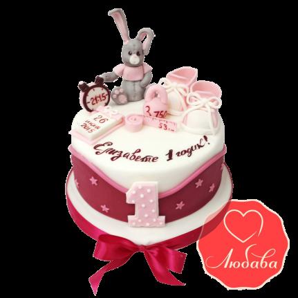 Торт на годик с серым зайцем и звездами №1227