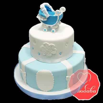 Торт на рождение ребенка с детской коляской №1229