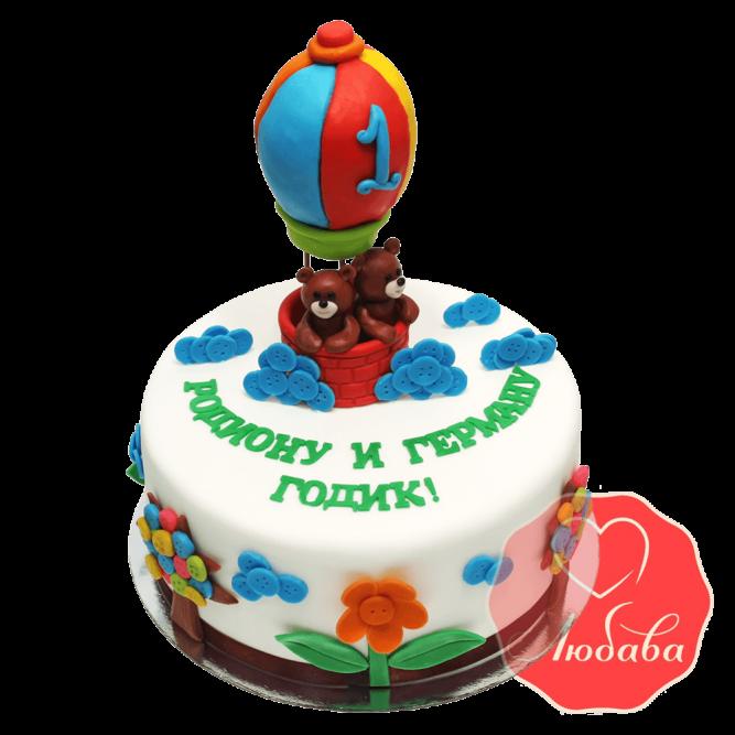 Торт на 1 годик с воздушным шаром №1230